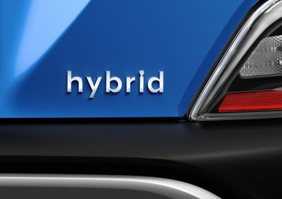 The Hybrid badge on the back of the new Hyundai KONA Hybrid compact SUV.