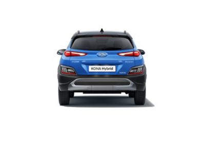Rear view of the new Hyundai KONA Hybrid compact SUV in Surfy Blue.