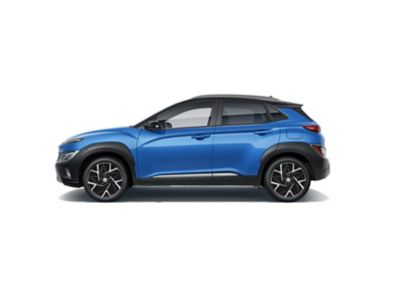 Side view of the new Hyundai KONA Hybrid compact SUV with its sporty silhouette.