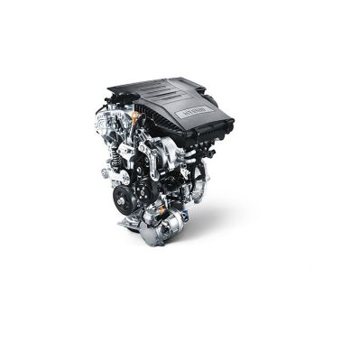 Illustration of the petrol engine of the new Hyundai KONA Hybrid compact SUV.